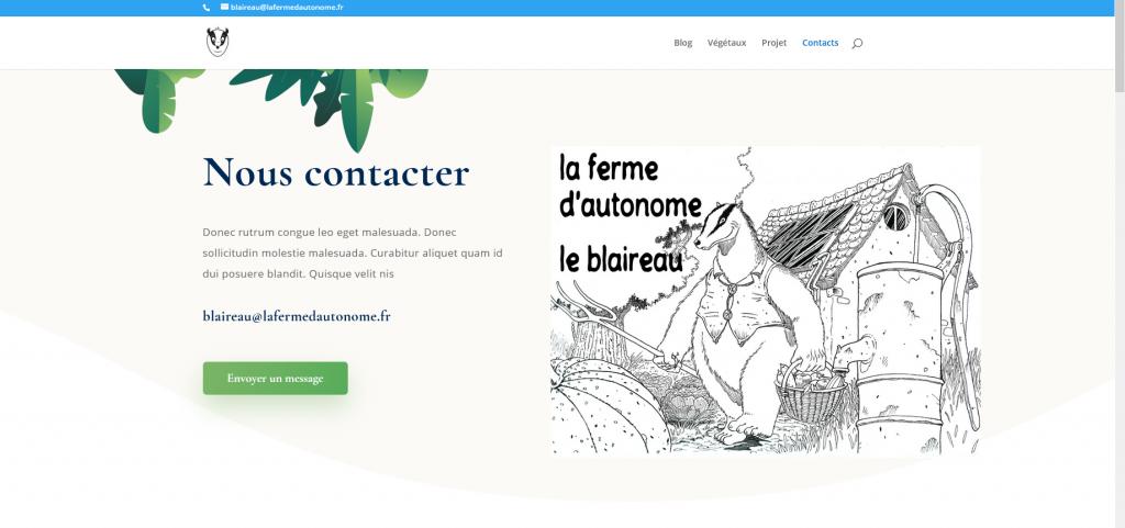 Site Internet - La ferme d'Autonome le blaireau