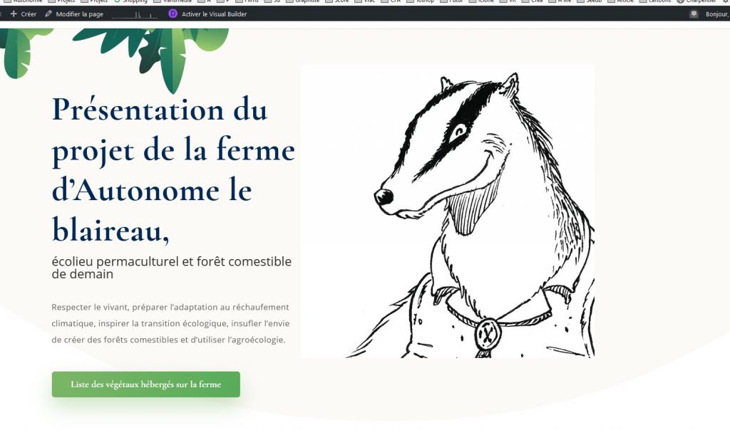 site Web Autonome - La ferme d'Autonome le blaireau